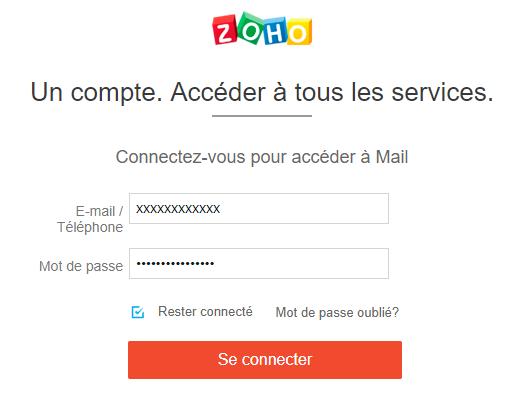 se connecter à mon compte zoho mail