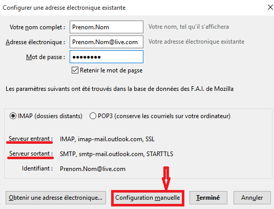 serveur imap hotmail thunder bird