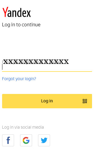 Yandex Log in