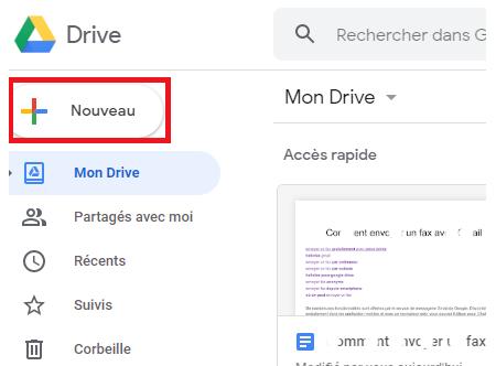 Nouveau document Drive à faxer