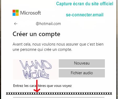 ouverture du compte de messagerie sur Microsoft