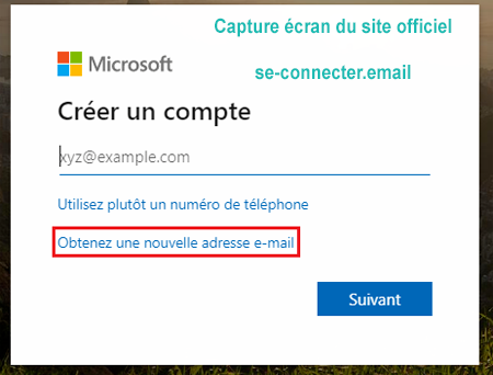 Inscription au compte Hotmail