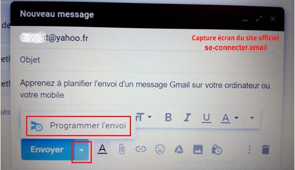 Planifier l'envoi d'un message avec Gmail