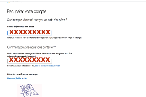 Questions de vérification hotmail