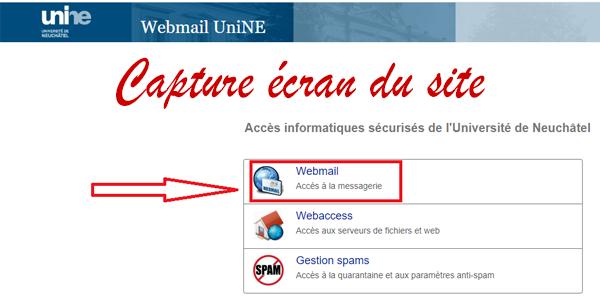 Se connecter à ma boite Webmail personnelle UniNE.